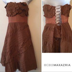 BCBGMAXAZARIA Brown Corset Dress size 4